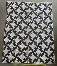 "Antique Hand Stitched Folk Art Drunksard Path Quilt 76""X60"" 9 Of 17 Maker Signed"