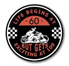 Life Begins at 60 RETRO CAFE PER MOTO 100MPH CLUB TONDO vinile auto adesivo