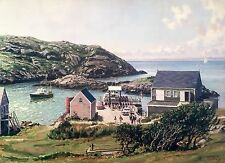 John Stobart Print - Monhegan: A View of the Landing from the Island Inn