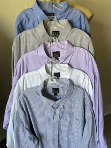 """Jos A Bank Traveler's Collection Lot of 5 Long Sleeve Button Up Shirts 20-35"""""""