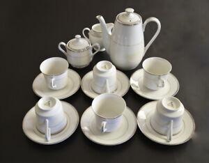 DAMICO 6 PERS PORCELAIN TEA SET WHITE-PLATINUM JAPAN 14 PIECE+Bonus Creamer Jug