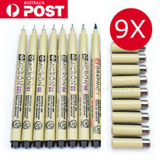 9pc Black Sakura Pigma Micron Fine Line Pen BR Drawing 005 01 02 03 04 05 08 10