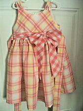Bonnie Jean Girls Party Dress SZ 5 Pink Yellow White Plaid Zipper Bow at Waist