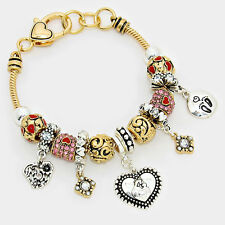 Mom Bracelet Sliding Beaded Charms Mother Child Footprints GOLD Family Heart