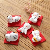 Japanese Lucky Cat Chopstick Rest Ceramic Red Cloth Mat Spoon Fork Rack Holder