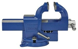 IRWIN 4 Inch Quick-Adjusting Workshop Bench Vise With Swivel Base and Anvil
