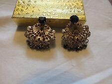 Stunning Gold Tone Filigree Clip Earrings Green Prong Set Rhinestones NICE