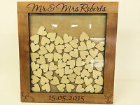 Personalised luxury cherrywood wedding guest book heart drop box 76 hearts gift