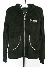 BCBG MAXAZRIA Black Hoodie With Silver Embrodery and Silver Studs Size M, NWOT