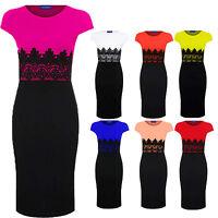 Women's Celeb Lace Contrast Cap Sleeve Evening Pencil Ladies Midi Bodycon Dress