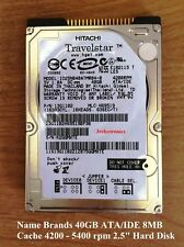 """Major Brands 40GB ATA/IDE 4200/5400 rpm 8MB Cache 12ms 2.5"""" Int Laptop HDD"""