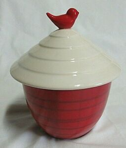 """Hallmark Red/White Covered Jar Canister with Bird Handle 7.5"""" Tall"""
