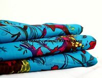 Pure Indian Cotton Material Bird Floral Pattern Turquoise Fabric By The Yard 44""
