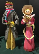 2 Vintage Paper Mache Caroler Figurines by DOUBLE*GLO with Original Boxes