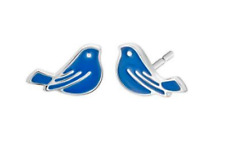 NEW BLUEBIRD stud EARRINGS, enamel and silver plated, birthday present