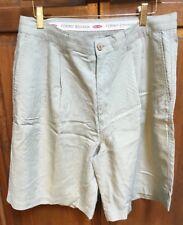 Tommy Bahama Pleated Shorts Tan Khaki Beige Hong Kong Cotton Men's 32