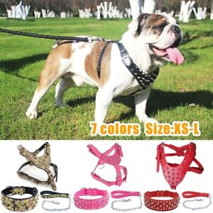 Pitbull Large Dogs Leather Spiked Studded Harness Collar With Chain Leash Set