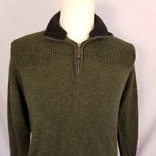 Field & Stream Mens 1/4 Zip Sweater Medium Pullover Hunter Green Cotton