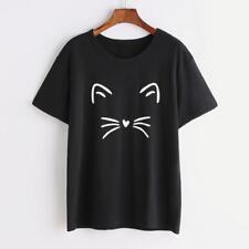 UK Fashion Womens Ladies Cat Print Summer Loose Tops Short Sleeve Blouse T Shirt