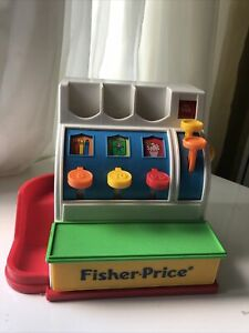 Fisher Price Vintage Classic Cash Register Toy with Two Red 25 Coins 1994
