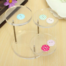 3-Layer Clear Round Jewelry Display Stand Earring Necklace Ring Organizer Shelf