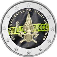 2 Euro Gedenkmünze Italien 2020 coloriert  mit Farbe / Farbmünze Feuerwehr 1