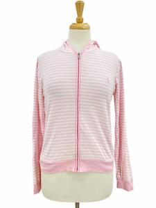 Ralph Lauren Golf Women's Casual Pink Striped Lightweight Full Zip Hoodie Medium