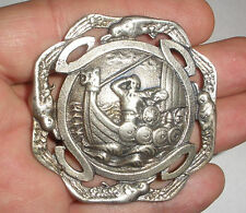Antique Norwegian Silver 830S brooch Norway viking ship dragestil H C Ostrem