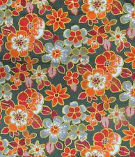 More details for vintage 1960's bernard wardle gavotte orange floral curtain fabric per metre