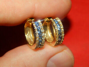 2Ct Princess Cut Blue Sapphire Hoop Huggie Earrings Solid 14K Yellow Gold Finish