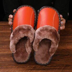 Men Slippers Leather Non-slip Home Indoor Footwear Fur Warm Comfy Winter Slipper