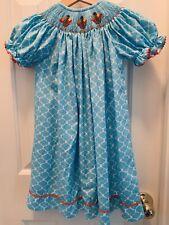 Thanksgiving Embroidered Turkey aqua smocked dress 3t