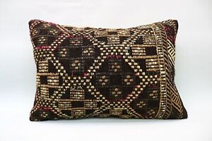 Kilim Boho Pillow, 16x24 inc, Vintage Boho Pillow, Handmade Decorative Pillow