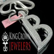 Real 14k White Gold On Silver Micro Pave Simu Diamond Initials Letter B Pendant