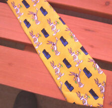 Looney Tunes Bugs Bunny Mens Necktie Yellow 1998 Warner Bros Polyester Excellent