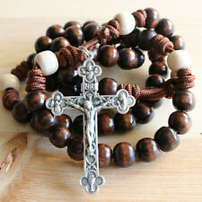 Rosary Brown Paracord Natural Wood Wearable Rope Cord Catholic Rosario
