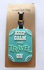 Luggage Tag- rectangular- turquoise-keep calm and travel on-- easy to spot