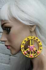 PEACE AZTEC YELLOW PINK PIRATE SKULL CITY OF GOLD PASTEL GOTH HIPSTER EARRINGS
