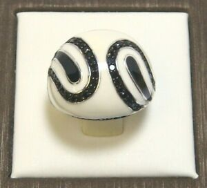 925 Sterling Silver Black Spinel, Black & White Enamel Ring Size 8, Platinum