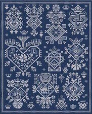 10% Off Long Dog Samplers Counted X-stitch chart - Sacre Coeur