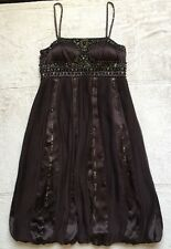 Sue Wong Nocturne Dress, Beaded & Embroidered, Size 6, Spaghetti Straps, Brown