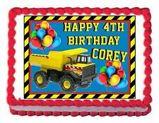 CONSTRUCTION TRUCK TONKA edible party cake topper cake image sheet decoration