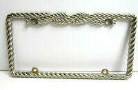 Metal Licence Plate Holder Frame Silver Twisted Rope
