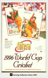 1996 Futera World Cup Cricket Trading Card Series Factory Box (40 Packs)-Rare