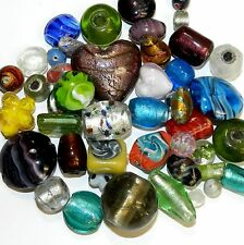 G4487f Assorted Mixed Size (5-35mm), Shape & Color Lampwork Glass Beads 8/oz