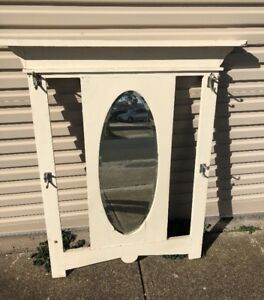 Vintage Bedroom mirror in frame with hooks to hang clothes # 48