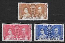 LEEWARD ISLANDS , CORONATION ISSUE,1937, GEORGE VI & ELIZABETH , SET OF 3 , USED