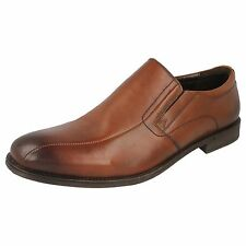 Mens Pod Slip on Tan Leather Smart Formal work Shoes Casual Loafers Benz