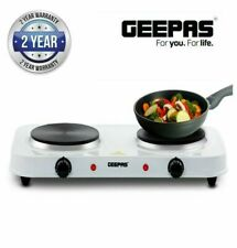 GEEPAS Double Electric Hot Plate 2000W Cooker Hob Table Top Kitchen White