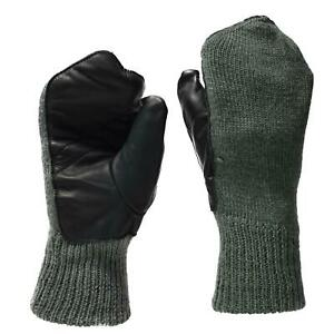 Original Swiss army mittens gray wool cold weather leather palm military gloves